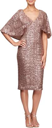 Alex Evenings Capelet Sleeve Sequin Cocktail Sheath
