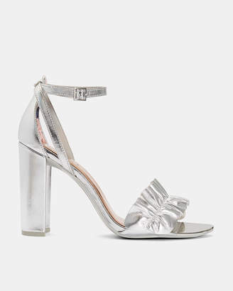 Ted Baker FLOUNCL Ruffle detail heeled leather sandals
