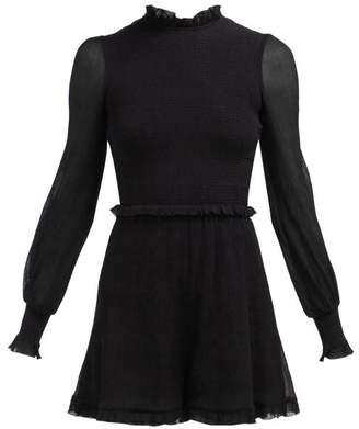 5442567a06 Zimmermann Primrose Cotton And Silk Blend Playsuit - Womens - Black