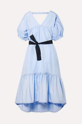3.1 Phillip Lim Open-back Belted Cotton-poplin Midi Dress - Light blue