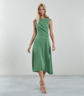 Reiss Our last order date for Christmas has now passed MARLING WRAP FRONT MIDI DRESS Pale Green