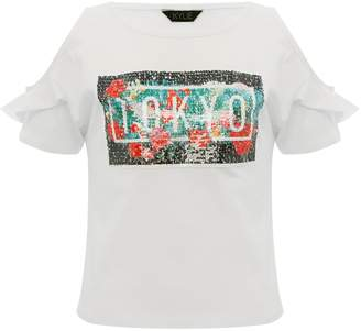 M&Co Teens' two way sequin Tokyo slogan t-shirt