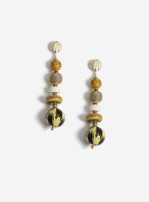 Miss Selfridge Gold Animal Print Drop Earrings
