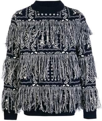Sacai fringed bandana-print jumper