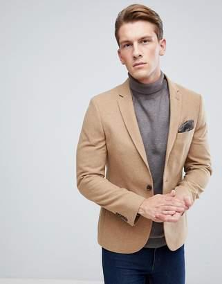 Moss Bros Skinny Blazer In Camel Tweed