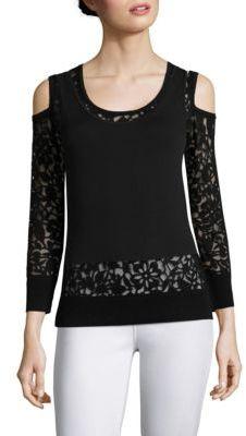 Saks Fifth Avenue COLLECTION Lace Burnout Cold Shoulder Top $250 thestylecure.com