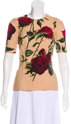 Dolce & Gabbana Rose Print Short Sleeve Top