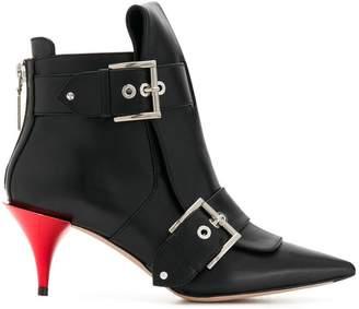 Alexander McQueen Double-Buckle Horn Heel boots