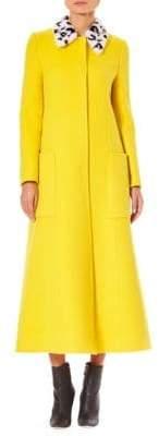Carolina Herrera Leopard Collar Wool Jacket