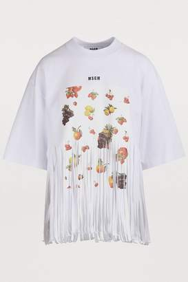 MSGM Fringed fruit print T-shirt