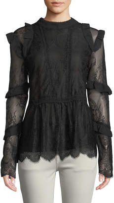 Lumie Long-Sleeve Mixed-Lace Blouse