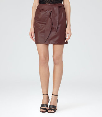 Leonie Belted Leather Mini Skirt $425 thestylecure.com