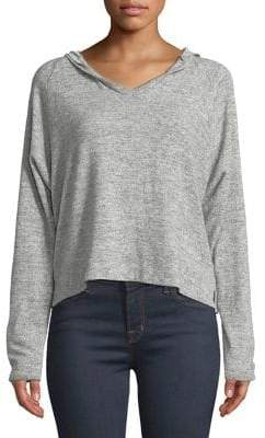 Project Social T Heathered Hooded Cropped Top