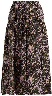 Marni Floral-print cotton midi skirt