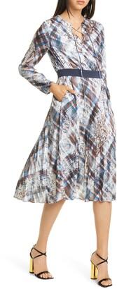 Ted Baker Lilis Quartz Long Sleeve Pleated Dress