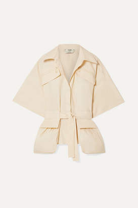 Fendi Belted Cotton-poplin Shirt - Ecru