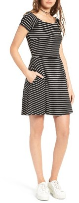 Mimi Chica Stripe Ballet Neck Skater Dress $39 thestylecure.com