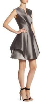 Halston Cap Sleeve Notch Fit-&-Flare Dress