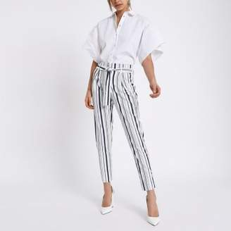 River Island Womens Navy stripe tie waist tapered pants