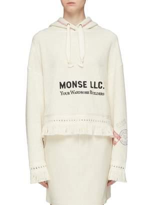Monse Slogan embroidered fringe hem hoodie