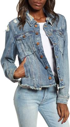 Blank NYC BLANKNYC Distressed Raw Hem Denim Jacket