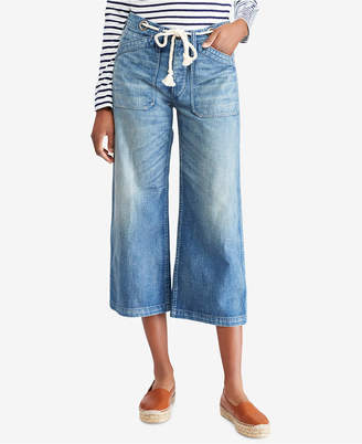 Polo Ralph Lauren Wide-Leg Cropped Cotton Jeans
