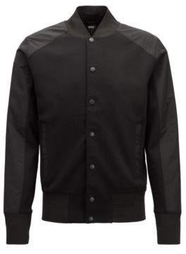 BOSS Hugo Varsity-style jacket press-stud front closure M Black