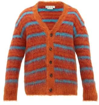 Marni Striped Mohair Blend Cardigan - Mens - Orange Multi