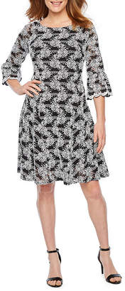 Rabbit Rabbit Rabbit DESIGN Design 3/4 Bell Sleeve Lace Floral Fit & Flare Dress