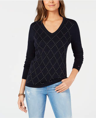 Tommy Hilfiger Cotton Argyle Embellishments Sweater, Created for Macy's