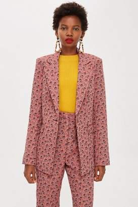 Topshop Floral Jacquard Single Breasted Jacket