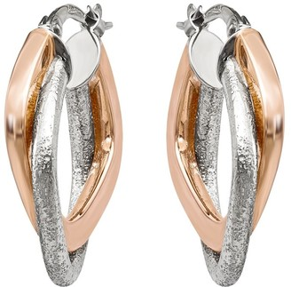 14K Gold Two-tone Double Triangle Hoop Earrings