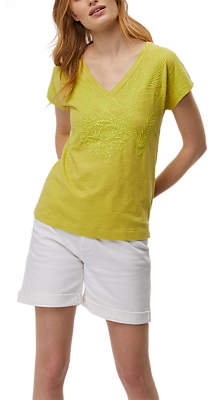 White Stuff Embroidered Jersey Tee, Pear Green