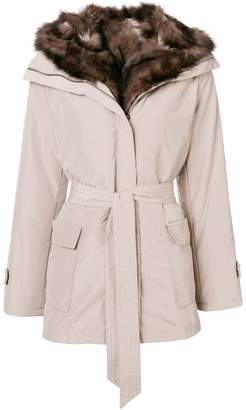 Max & Moi belted fur lined parka