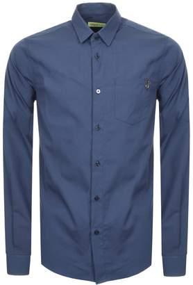 Versace Slim Fit Pocket Shirt Blue