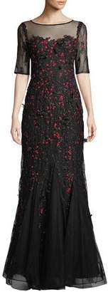 Rickie Freeman For Teri Jon Sequin & Embroidered Floral Lace Mermaid Gown
