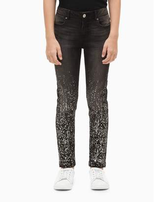 Calvin Klein girls skinny fit metallic splatter jeans