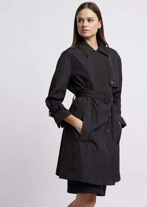 Emporio Armani Double Poly Taffeta Trench Coat With Belt