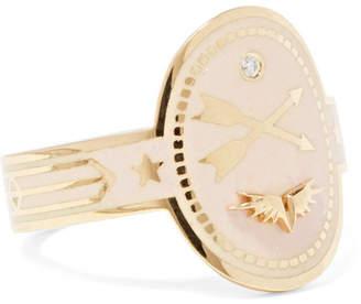 Foundrae Crossed Arrows 18-karat Gold, Diamond And Enamel Ring