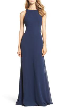 Paige Hayley Occasions Crewneck Chiffon Gown