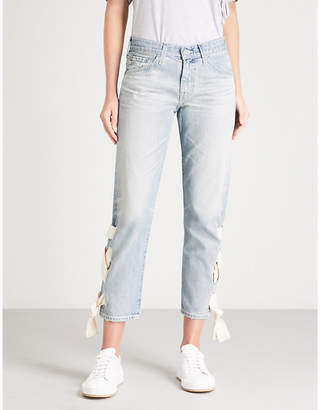 AG Jeans The Ex-Boyfriend laced slim-fit mid-rise jeans