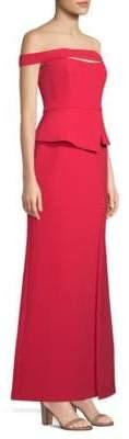 BCBGMAXAZRIA Strapless Peplum Gown