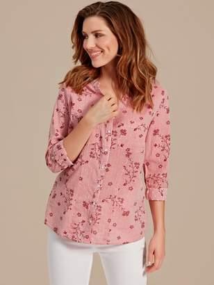 M&Co Floral stripe print dobby shirt