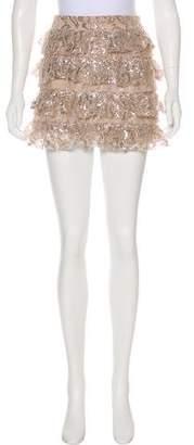 Alice + Olivia Lace Silk Blend Mini Skirt