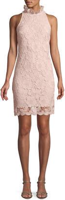 Donna Ricco Mock-Neck Sleeveless Lace Sheath Dress