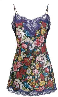 Marques Almeida Marques'almeida Floral Printed Slip Dress with Lace Trim