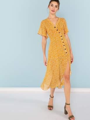 SheinShein Asymmetric Buttoned Placket Floral Dress