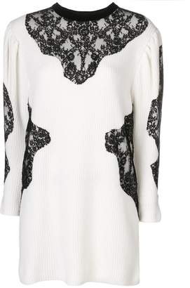Valentino lace insert knit dress