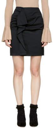 Carven Black Ruffle Miniskirt