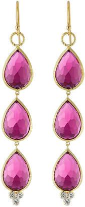 Jude Frances 18K Gold Triple Ruby Quartz Teardrop Earrings
